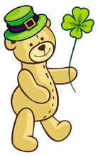 Cute Teddy Bear In Green Hat A...
