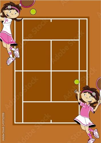 Photo  Cute Cartoon Tennis Girls on Court