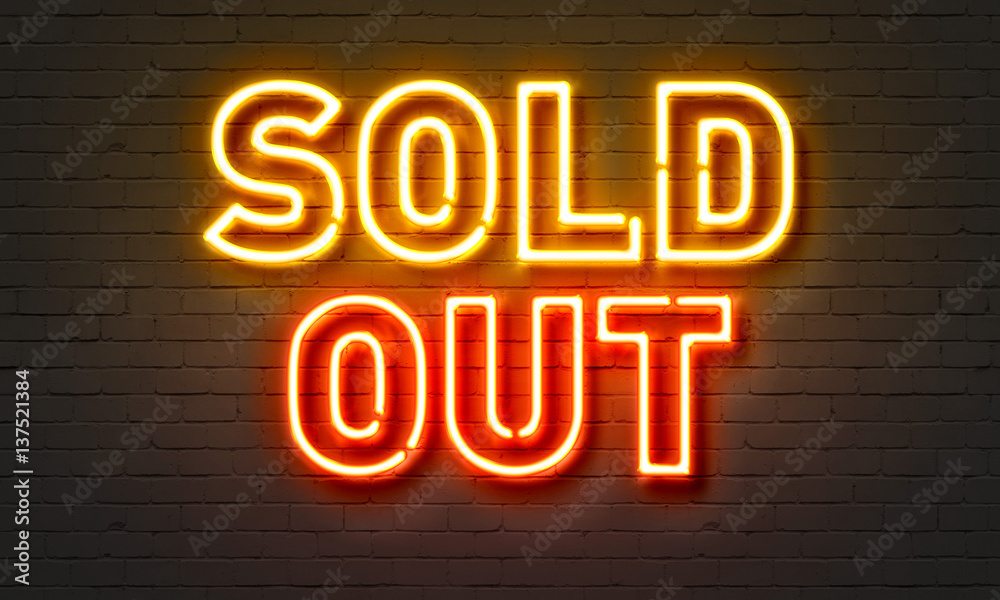 Fototapety, obrazy: Sold out neon sign on brick wall background.