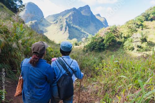 Foto op Aluminium Ontspanning Traveller trekking on Doi Luang Chiang Dao Mountain. Chiang mai, Thailand.