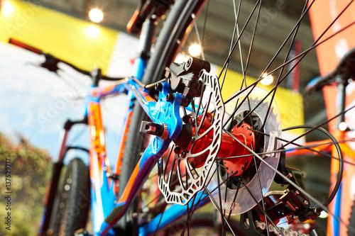 Poster Graffiti Brake disk of rear wheel sport mountain bike in shop