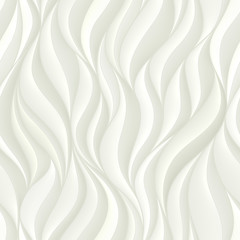 Tapeta Seamless pattern with white volumetric waves. Abstract background.