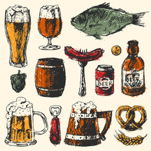 Beer Food Set With Mug Bottle Wheat Hop Elements And Hand Drawing Graphic Objects Used For Advertising Festival Beverage Brewery Bar Vector Illustration.