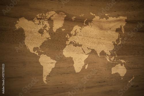 Foto op Aluminium Wereldkaart Wood texture background , process in vintage style with world map