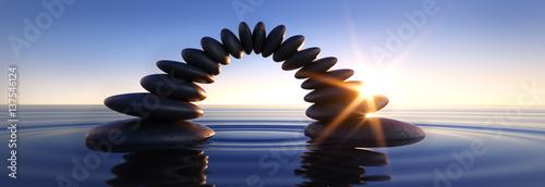 Recess Fitting Zen Steinbrücke im Meer bei Sonnenuntergang