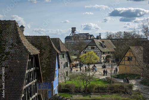 Poster Artistiek mon. Patrimoine Alsace, maisons anciennes