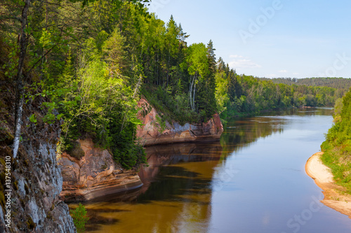 Printed kitchen splashbacks River Panoramic view of river Gauja turn from path on the hill. Gauja National park, Latvia.
