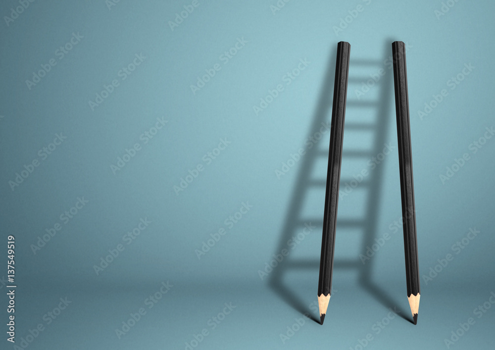 Fototapety, obrazy: success creative concept, pencil Ladder with copy space