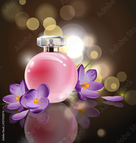 Pink bottle womens perfume with spring flowers crocuses on blurred pink bottle womens perfume with spring flowers crocuses on blurred background vector mightylinksfo