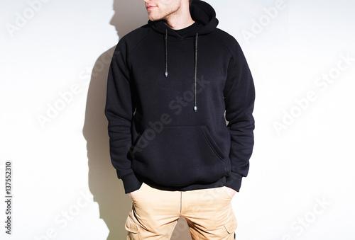 man, guy in Blank black hoodie, sweatshirt, mock up isolated. design ...
