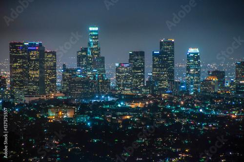 Zdjęcie XXL W centrum Los Angeles przy nocą, Kalifornia, usa