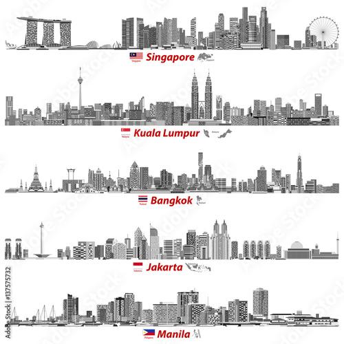 abstract vector illustrations of Singapore, Kuala Lumpur, Bangkok, Jakarta and M Poster