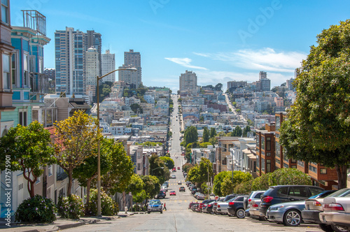 Streets with the slope in San Francisco, California, USA