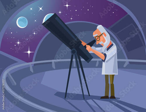 Photo Astronomer scientist character looking through telescope