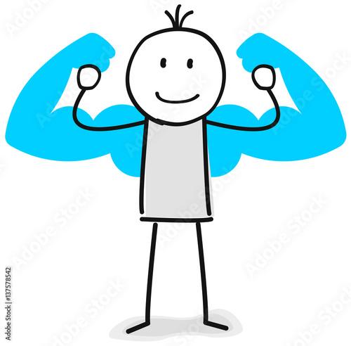 Fotografie, Obraz  Figur mit Muskeln zeigt Stärke
