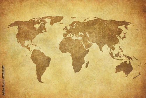 Photo sur Aluminium Europe du Nord grunge map of the world