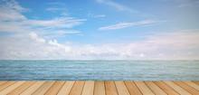 Pier Wood Floor Beside Sea Wit...