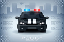 Infographics Design With Generic Police Car And Skyscrapers