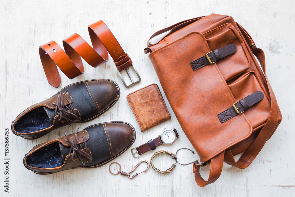 Fototapety, obrazy: Men's casual outfits with leather accessories on white rustic wooden background, beauty and fashion concept
