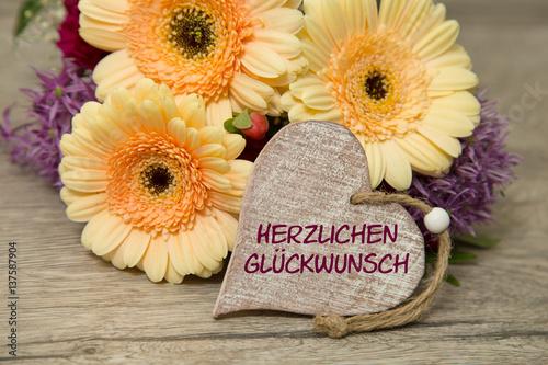 Blumen Und Herz Herzlichen Glückwunsch Buy This Stock