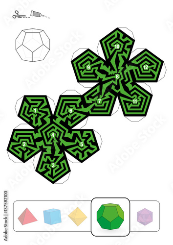 DODECAHEDRON MAZE - template of one of five platonic solid ...