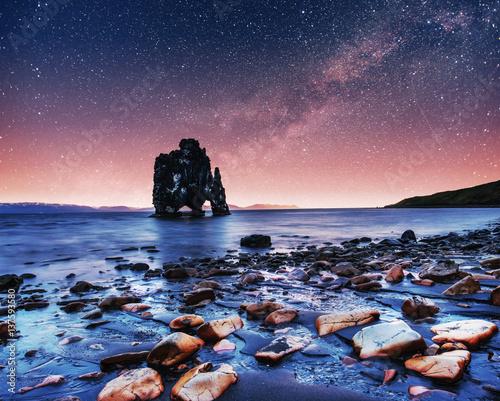 Acrylic Prints Hvitserkur 15 m height. Fantastic starry sky