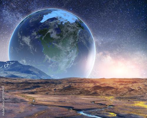Realistyczna lustracja 3D na Ziemi. Dzięki uprzejmości NASA. Fantastyczna gwiazda