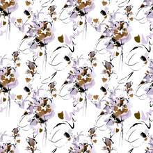 Seamless Abstract Pattern With Elements Of Coffee Spilled On A White Tablecloth