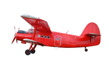 Red Airplane Biplane With Pist...