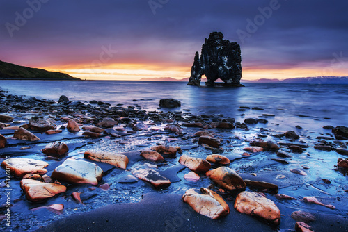 Acrylic Prints Hvitserkur is a spectacular rock in the sea on the Northern coas