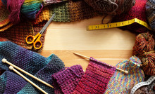 Border Of Colourful Knitting And Craft Accessories
