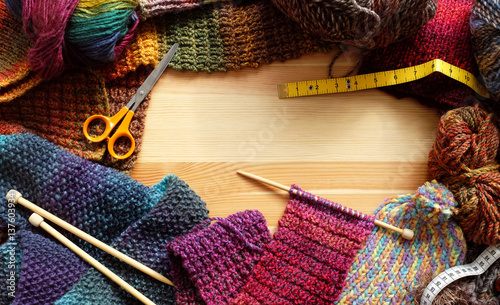 Fotografie, Obraz  Border of colourful knitting and craft accessories