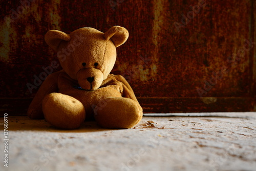 Fotografie, Obraz  Sad Teddy Bear