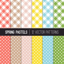 Spring Pastel Colors Gingham P...