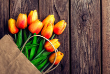 Bouquet Of Tulips In A Paper S...