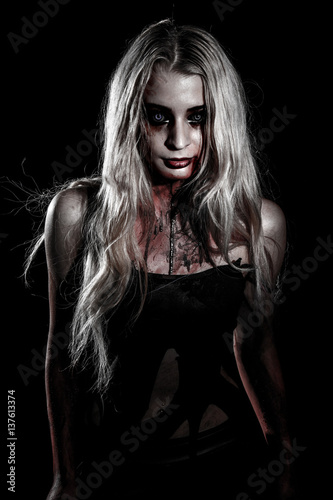 Photo  Pale bloody woman