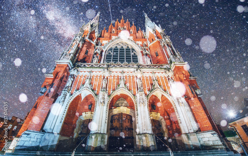 Fototapeta Church St. Joseph in Krakow. Fantastic starry sky. Photo greetin obraz