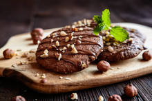 Delicious Chocolate Cookies With Hazelnuts And Topping
