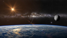 The Sun, Moon And Earth Views From Earth's Orbit. Elements Of This Image Furnished By NASA