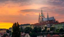 Prague Castle On Sunset