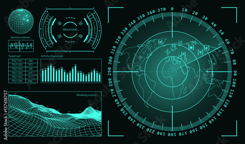 Fotografía  Futuristic user interface HUD tech elements for game creation or footage overlay