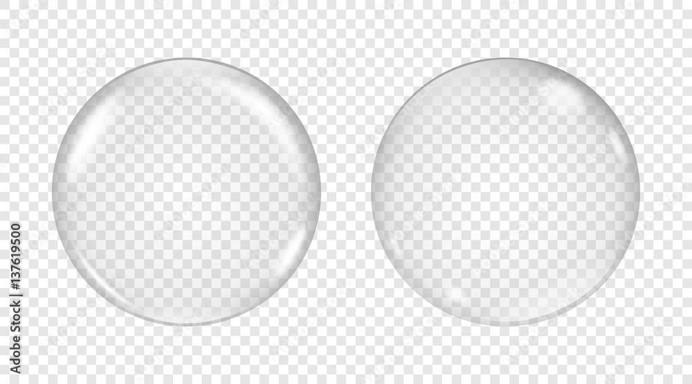 Fototapety, obrazy: Vector transparent soap bubble on a light background.