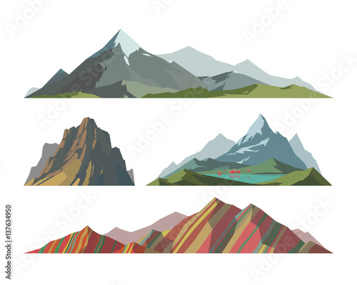 Fotografie, Obraz Mountain mature silhouette element outdoor icon snow ice tops and decorative isolated camping landscape travel climbing or hiking geology vector illustration