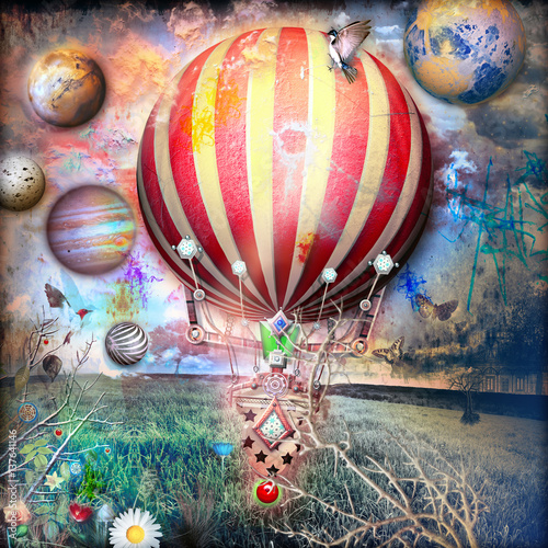 Photo sur Toile Imagination Night flight of fantastic hot air balloon