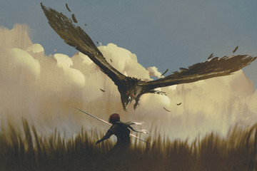 Fototapetathe big eagle attack the warrior from above in a field,illustration painting
