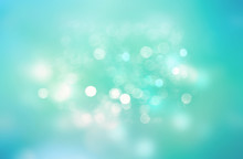 Cyan Blue Green Bokeh Blur Background.