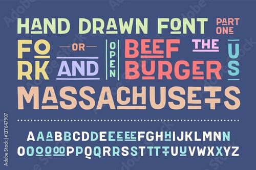 Hand-drawn alphabet and font  Bold, regular and medium