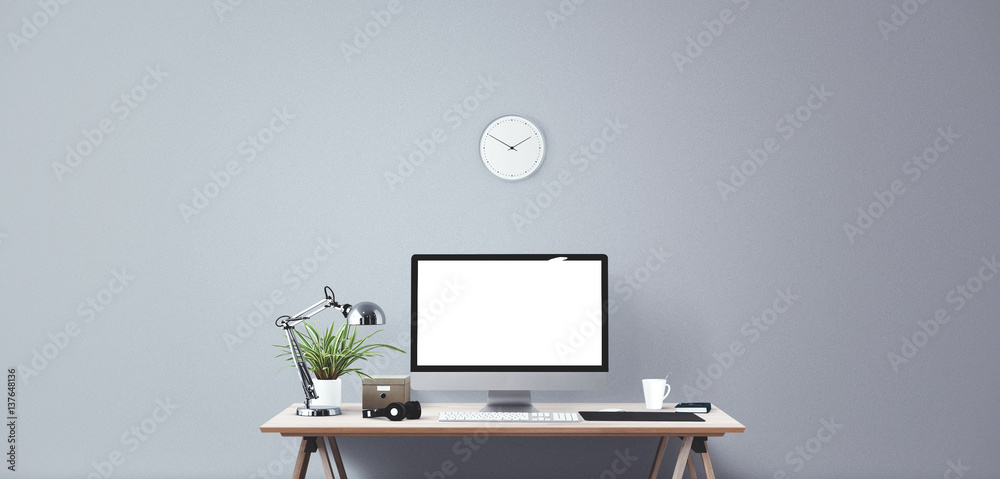 Fotografie, Obraz  Computer display and office tools on desk