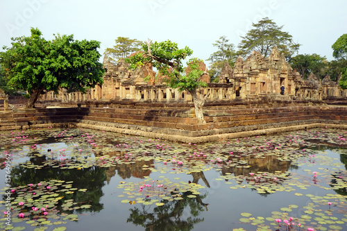 Poster Ruine Pond with lotuses