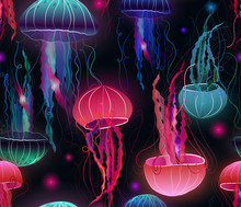 Sea Party Pink Jellyfish Seaml...